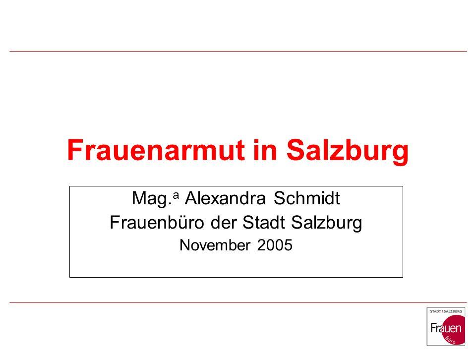 Frauenarmut in Salzburg Mag. a Alexandra Schmidt Frauenbüro der Stadt Salzburg November 2005