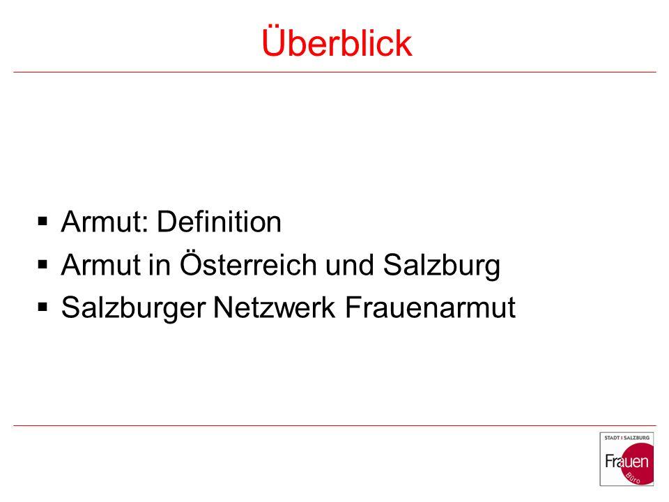 Überblick Armut: Definition Armut in Österreich und Salzburg Salzburger Netzwerk Frauenarmut
