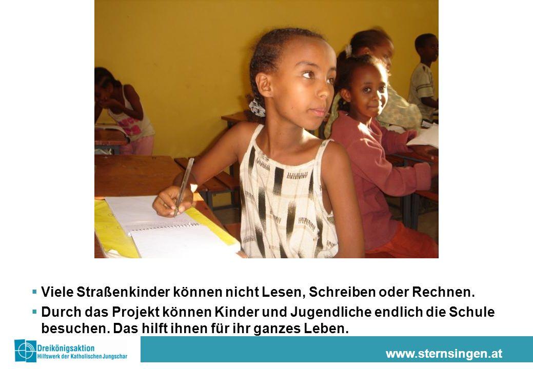 www.sternsingen.at Jugendliche erhalten eine handwerkliche Ausbildung in Tischlerei, Schlosserei oder als Friseure/innen.