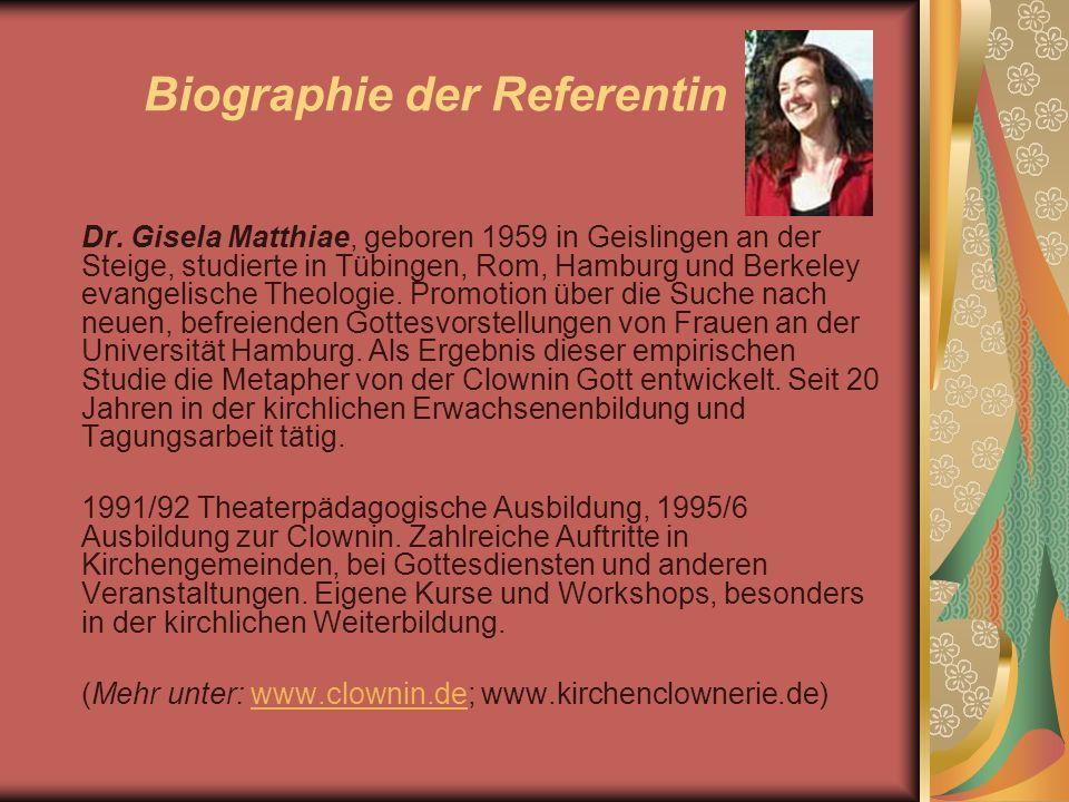 Biographie der Referentin Dr. Gisela Matthiae, geboren 1959 in Geislingen an der Steige, studierte in Tübingen, Rom, Hamburg und Berkeley evangelische