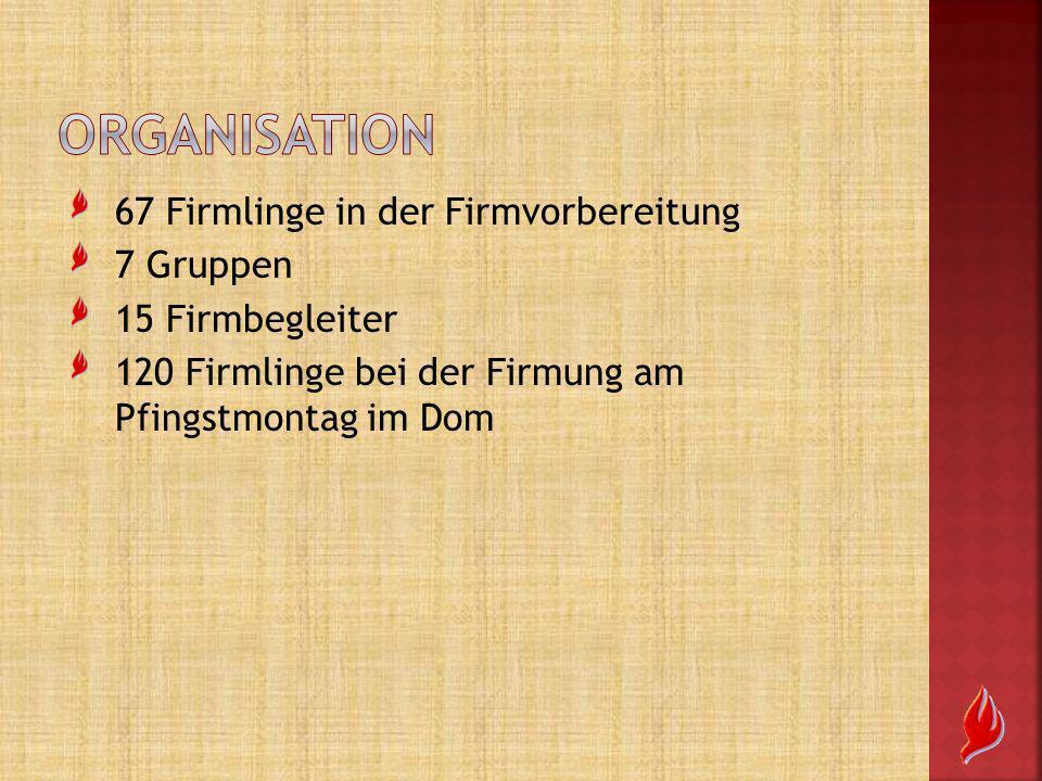67 Firmlinge in der Firmvorbereitung 7 Gruppen 15 Firmbegleiter 120 Firmlinge bei der Firmung am Pfingstmontag im Dom