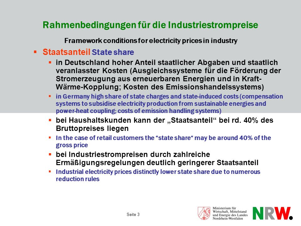 Seite 3 Rahmenbedingungen für die Industriestrompreise Framework conditions for electricity prices in industry Staatsanteil State share in Deutschland