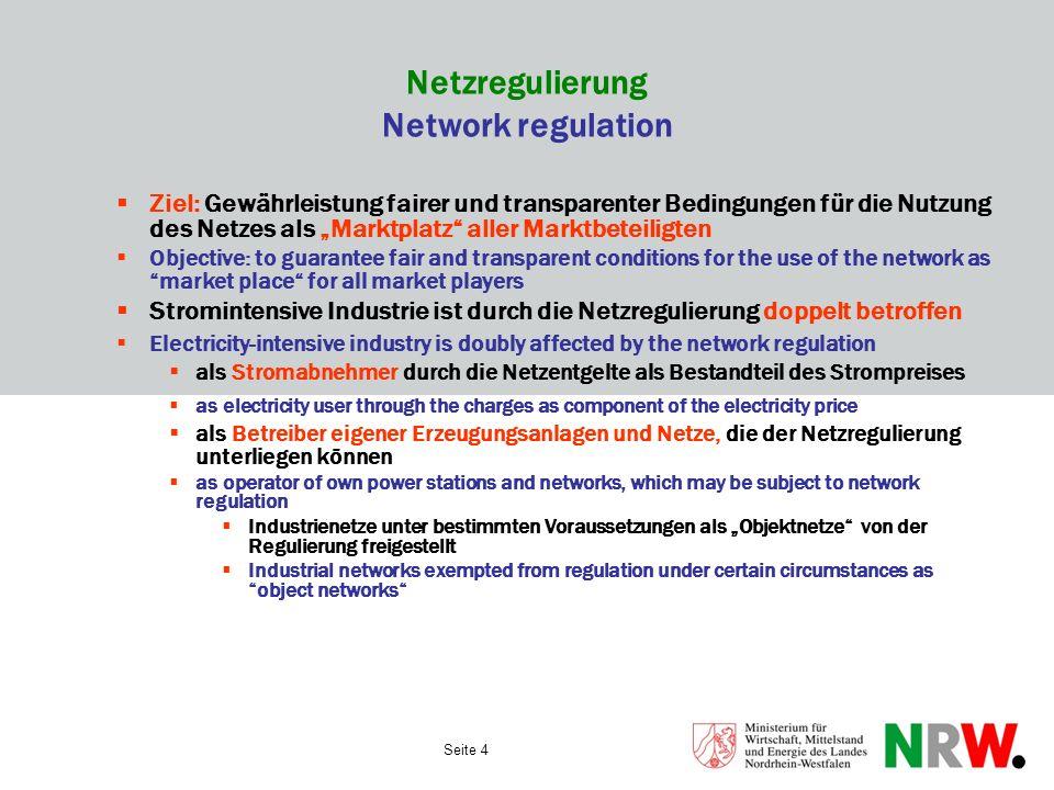 Seite 4 Netzregulierung Network regulation Ziel: Gewährleistung fairer und transparenter Bedingungen für die Nutzung des Netzes als Marktplatz aller M