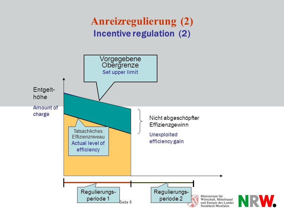 Seite 8 Anreizregulierung (2) Incentive regulation (2) Vorgegebene Obergrenze Set upper limit Regulierungs- periode 1 Regulierungs- periode 2 Tatsächl