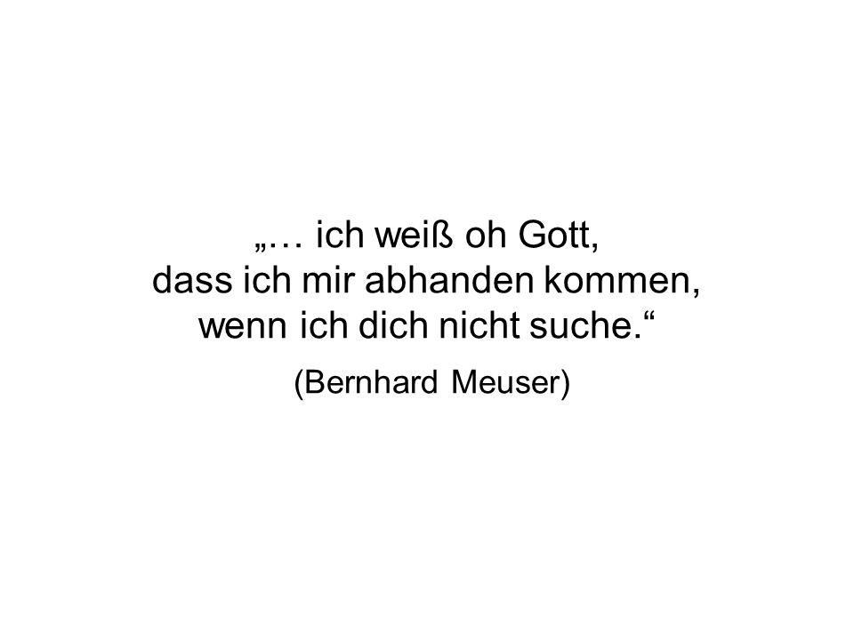 … ich weiß oh Gott, dass ich mir abhanden kommen, wenn ich dich nicht suche. (Bernhard Meuser)