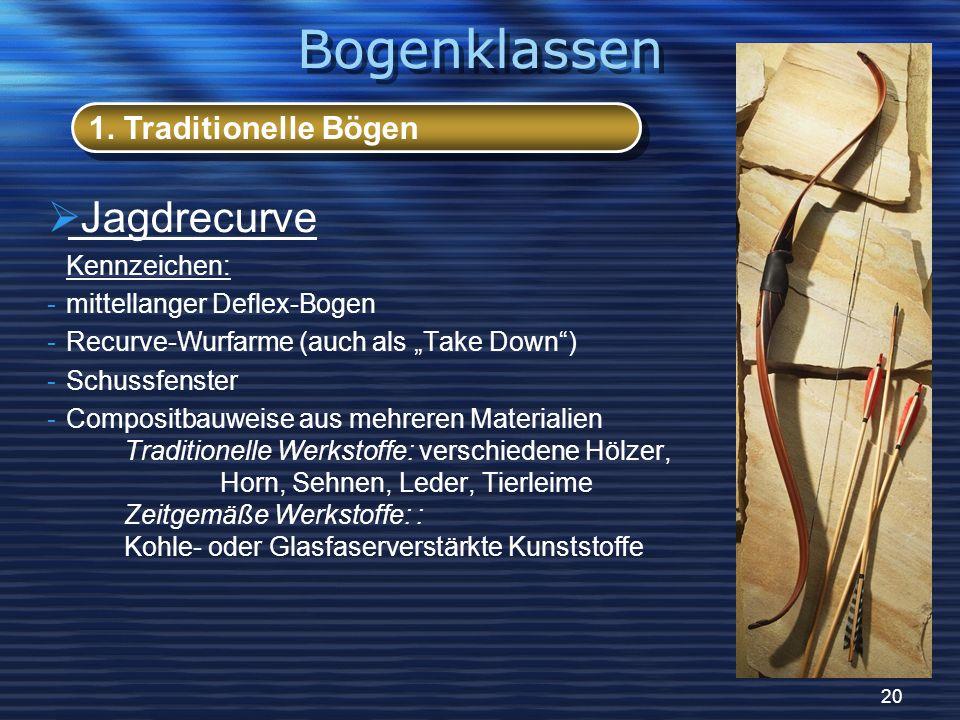 20 Jagdrecurve Kennzeichen: -mittellanger Deflex-Bogen -Recurve-Wurfarme (auch als Take Down) -Schussfenster -Compositbauweise aus mehreren Materialie