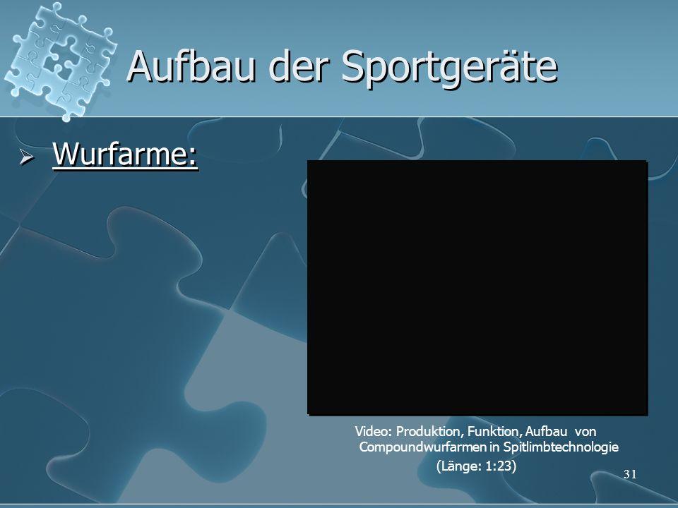31 Aufbau der Sportgeräte Wurfarme: Video: Produktion, Funktion, Aufbau von Compoundwurfarmen in Spitlimbtechnologie (Länge: 1:23)