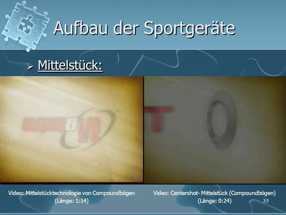 33 Aufbau der Sportgeräte Mittelstück: Video: Centershot- Mittelstück (Compoundbögen) (Länge: 0:24) Video: Mittelstücktechnologie von Compoundbögen (L