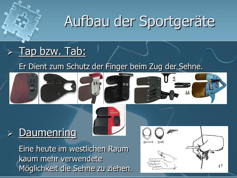 47 Tap bzw. Tab: Er Dient zum Schutz der Finger beim Zug der Sehne. Daumenring Eine heute im westlichen Raum kaum mehr verwendete Möglichkeit die Sehn