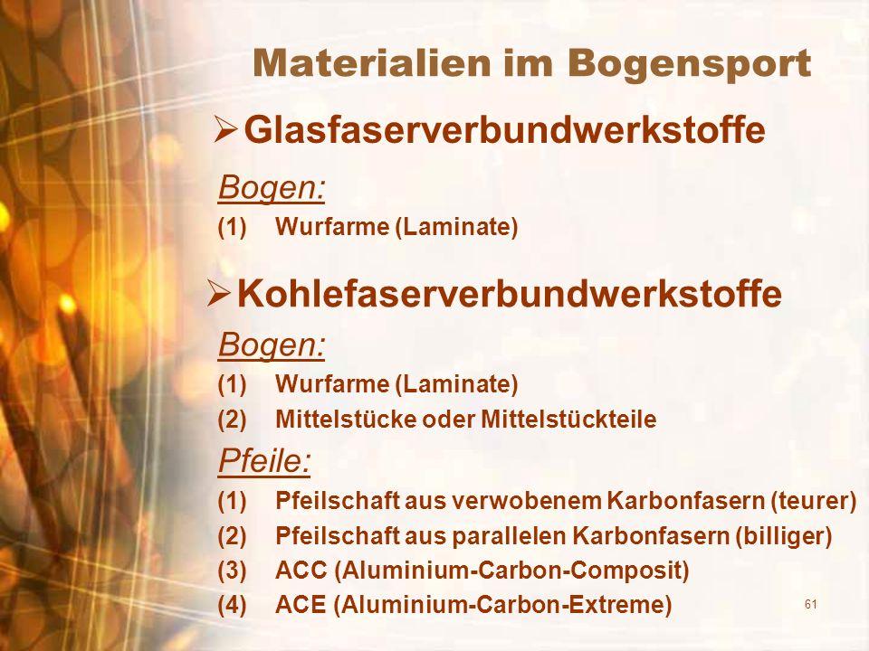 61 Materialien im Bogensport Glasfaserverbundwerkstoffe Bogen: (1)Wurfarme (Laminate) Kohlefaserverbundwerkstoffe Bogen: (1)Wurfarme (Laminate) (2)Mit