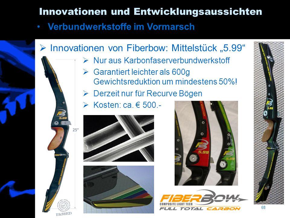 68 Innovationen und Entwicklungsaussichten Verbundwerkstoffe im Vormarsch Innovationen von Fiberbow: Mittelstück 5.99 Nur aus Karbonfaserverbundwerkst