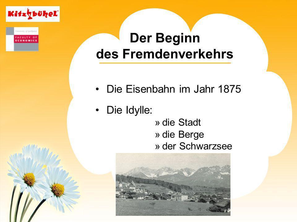 Der Beginn des Fremdenverkehrs Die Eisenbahn im Jahr 1875 Die Idylle: »die Stadt »die Berge »der Schwarzsee