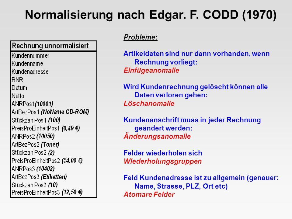 Lösung: Keine Wiederholungsgruppen durch Abspalten der Tabelle Positionen (ArtNR, RNR, ArtBez, Stueckzahl, PreisProEinheit) Normalisierung nach Edgar.