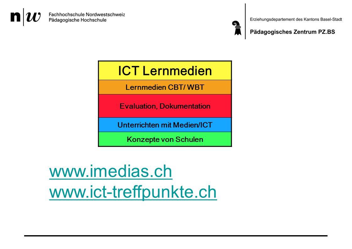 ICT Lernmedien Lernmedien CBT/ WBT Evaluation, Dokumentation Unterrichten mit Medien/ICT Konzepte von Schulen www.imedias.ch www.ict-treffpunkte.ch