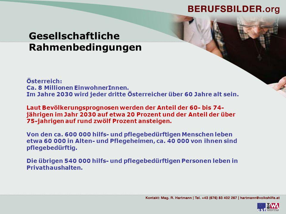Gesellschaftliche Rahmenbedingungen Die Entwicklungsprognose des Österreichischen Bundesinstitutes für Gesundheitswesen geht bis zum Jahr 2011 von einer Steigerung der Zahl hilfs- und pflegebedürftiger Menschen in Privathaushalten um rund 42 Prozent aus, wobei die Anzahl der schwer pflegebedürftigen Menschen um 34 Prozent (156 000 Personen) steigen wird.