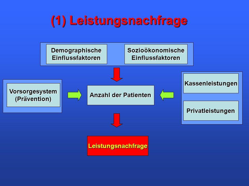 (1) Leistungsnachfrage DemographischeEinflussfaktorenSozioökonomischeEinflussfaktoren Vorsorgesystem(Prävention) Anzahl der Patienten Kassenleistungen