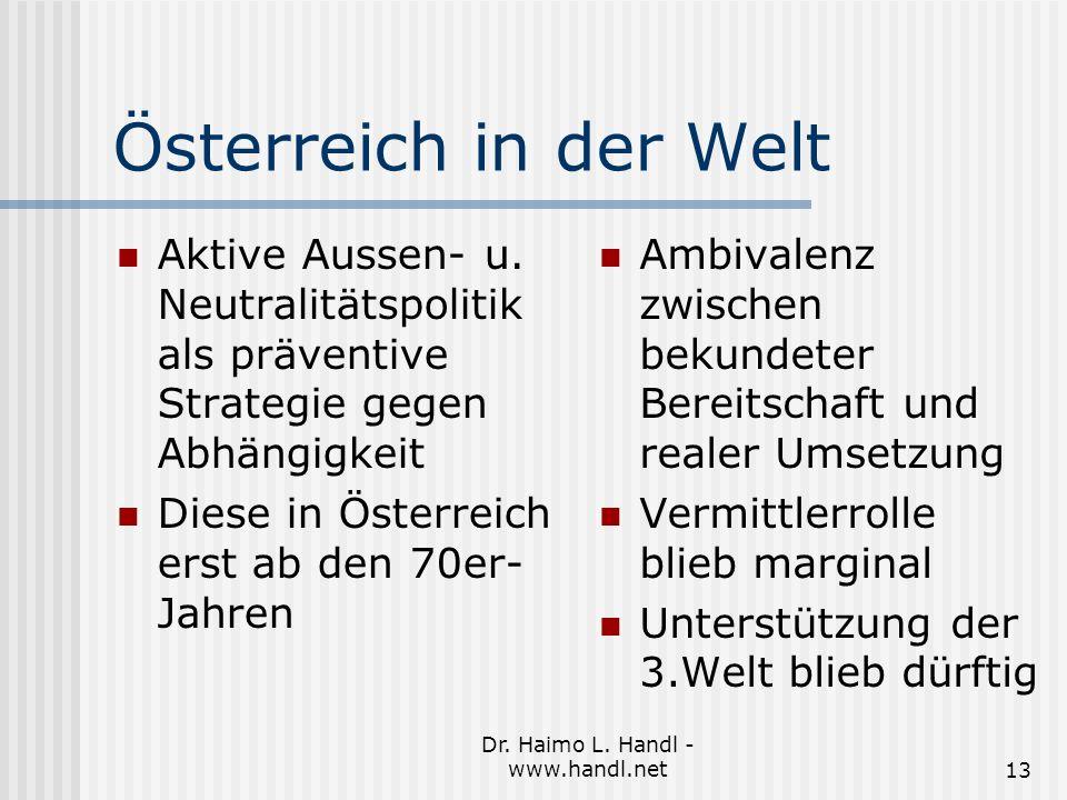 Dr. Haimo L. Handl - www.handl.net13 Österreich in der Welt Aktive Aussen- u.