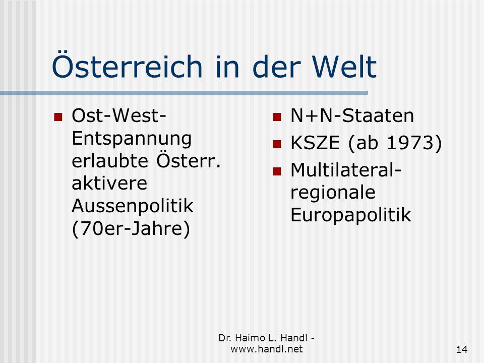 Dr. Haimo L. Handl - www.handl.net14 Österreich in der Welt Ost-West- Entspannung erlaubte Österr.