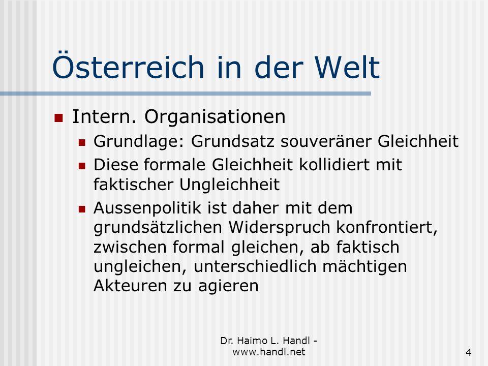 Dr. Haimo L. Handl - www.handl.net4 Österreich in der Welt Intern.
