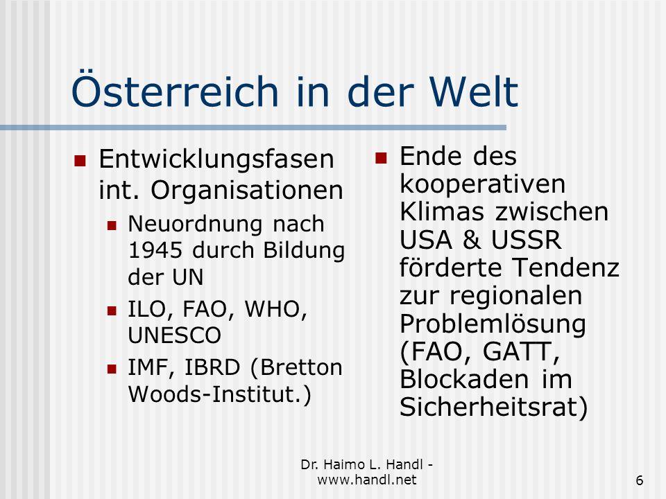 Dr. Haimo L. Handl - www.handl.net6 Österreich in der Welt Entwicklungsfasen int.