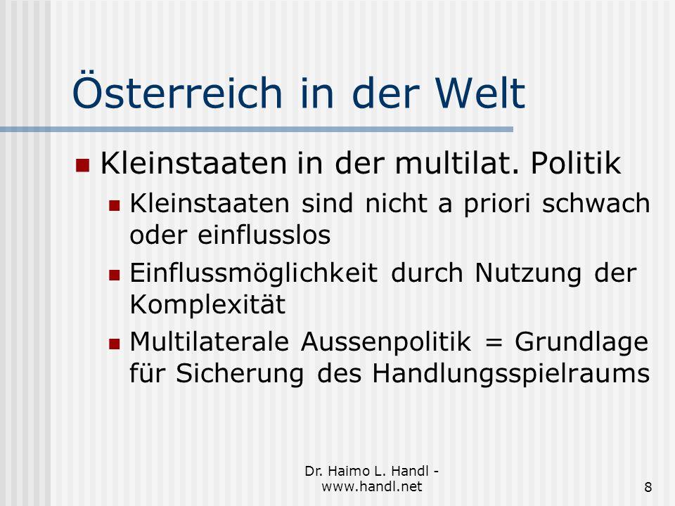 Dr. Haimo L. Handl - www.handl.net8 Österreich in der Welt Kleinstaaten in der multilat.