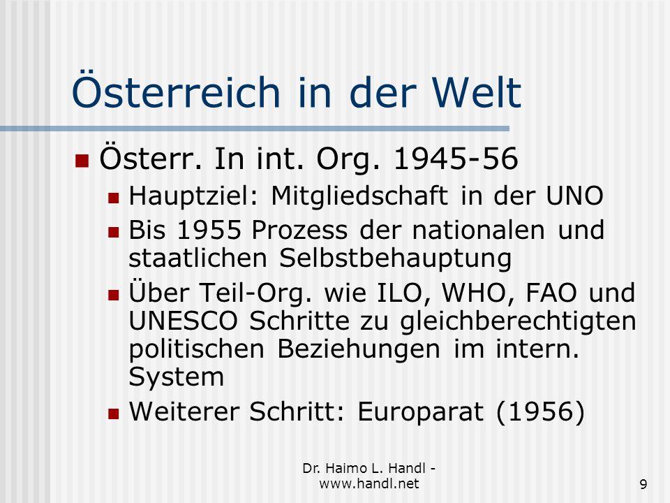 Dr. Haimo L. Handl - www.handl.net9 Österreich in der Welt Österr.