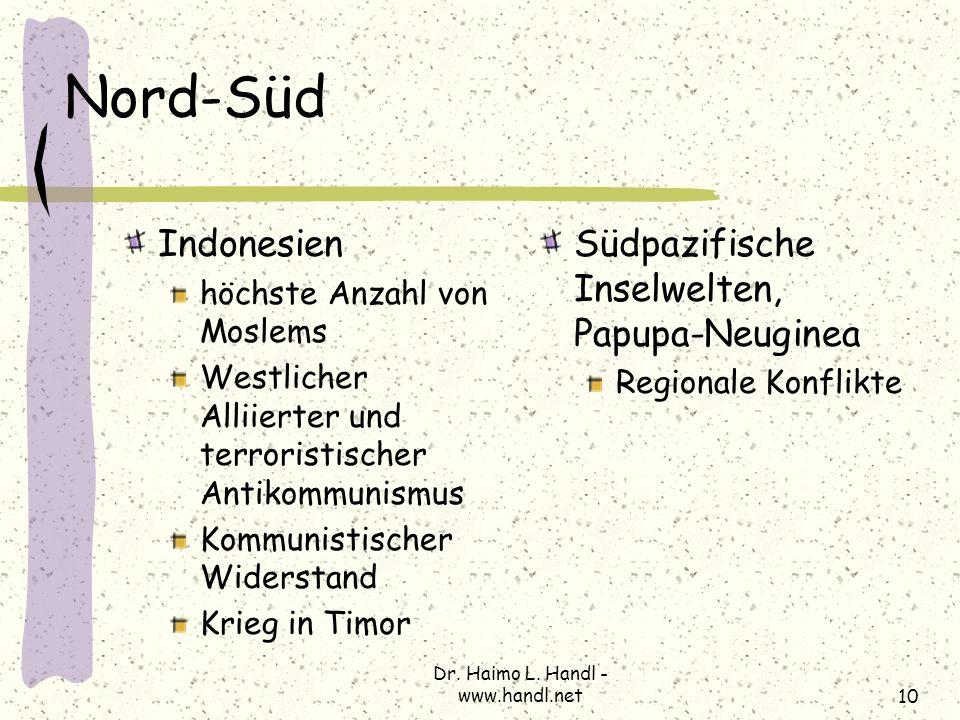 Dr. Haimo L. Handl - www.handl.net10 Nord-Süd Indonesien höchste Anzahl von Moslems Westlicher Alliierter und terroristischer Antikommunismus Kommunis