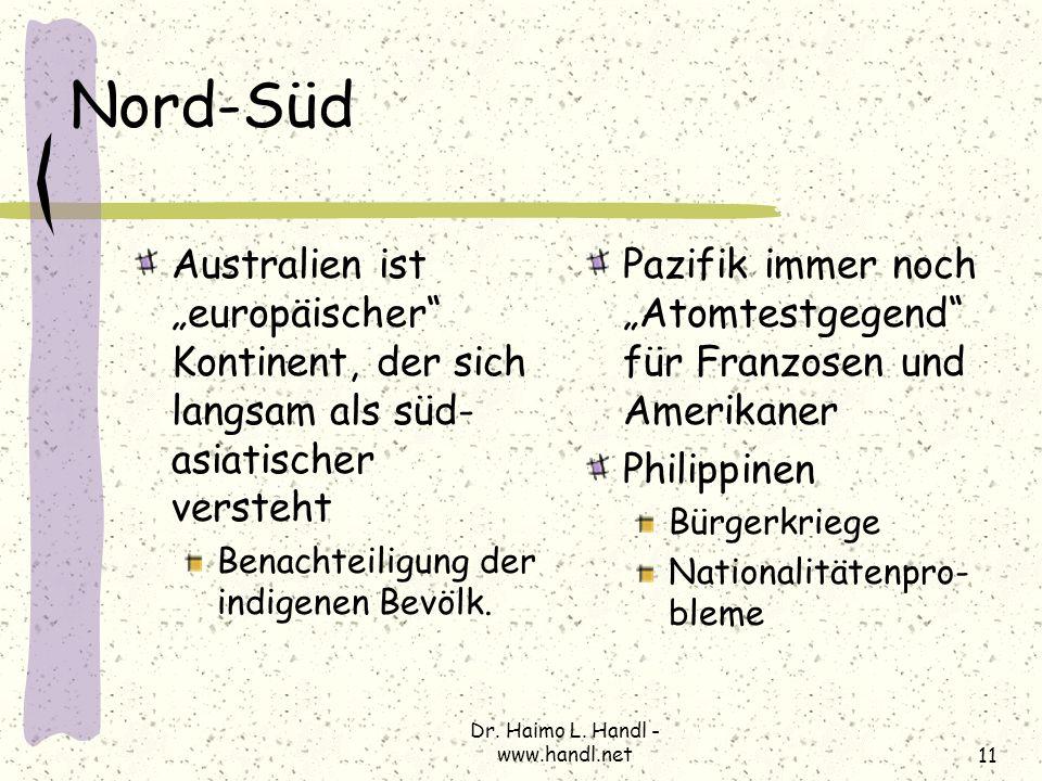Dr. Haimo L. Handl - www.handl.net11 Nord-Süd Australien ist europäischer Kontinent, der sich langsam als süd- asiatischer versteht Benachteiligung de