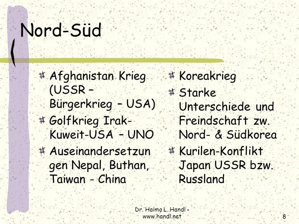Dr. Haimo L. Handl - www.handl.net8 Nord-Süd Afghanistan Krieg (USSR – Bürgerkrieg – USA) Golfkrieg Irak- Kuweit-USA – UNO Auseinandersetzun gen Nepal