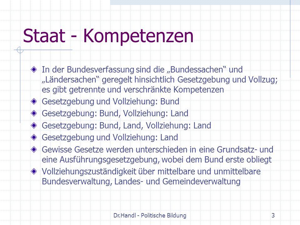 Dr.Handl - Politische Bildung3 Staat - Kompetenzen In der Bundesverfassung sind die Bundessachen und Ländersachen geregelt hinsichtlich Gesetzgebung u
