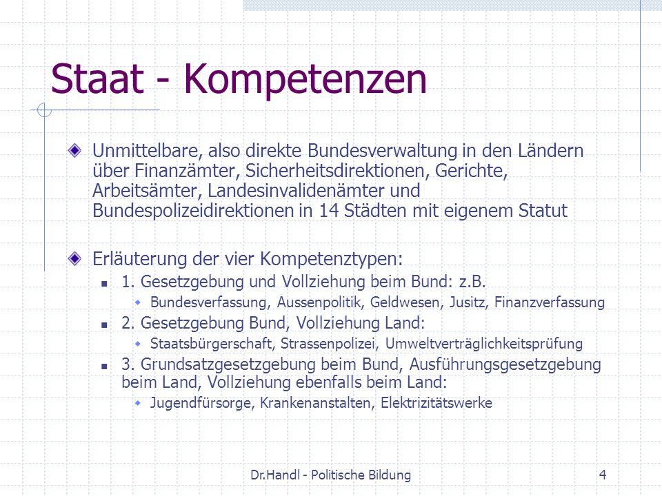 Dr.Handl - Politische Bildung4 Staat - Kompetenzen Unmittelbare, also direkte Bundesverwaltung in den Ländern über Finanzämter, Sicherheitsdirektionen