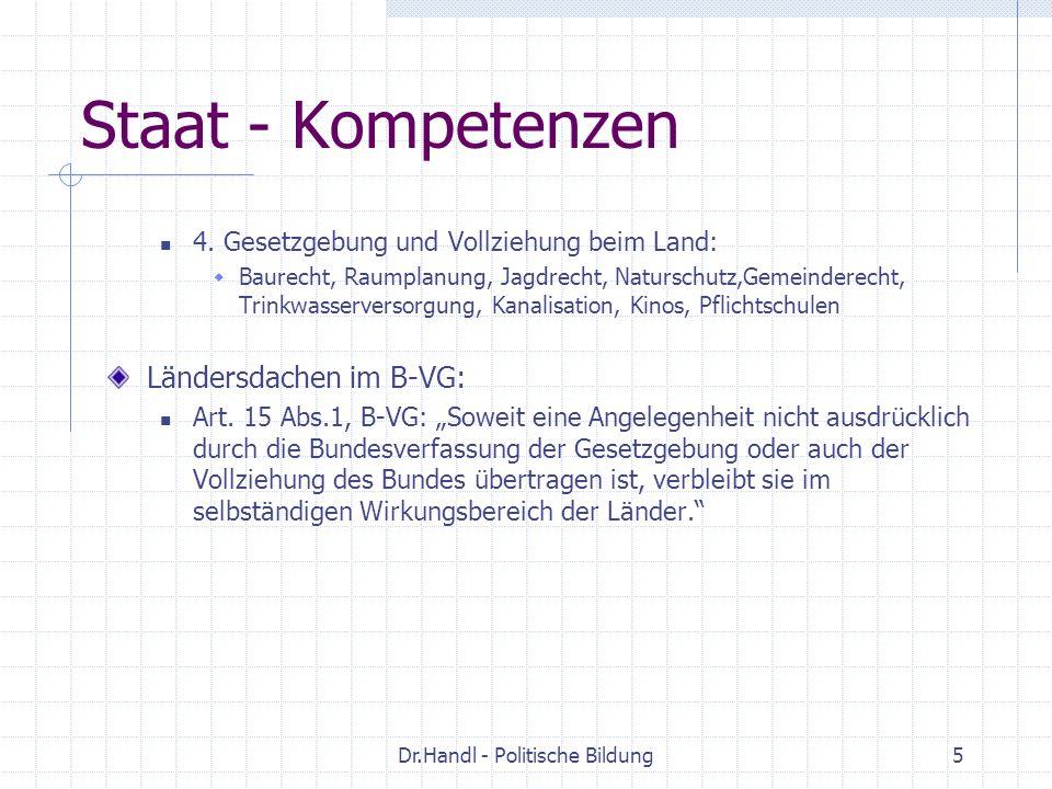 Dr.Handl - Politische Bildung5 Staat - Kompetenzen 4. Gesetzgebung und Vollziehung beim Land: Baurecht, Raumplanung, Jagdrecht, Naturschutz,Gemeindere