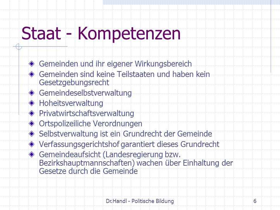 Dr.Handl - Politische Bildung7 Staat – Kompetenzen Typen von Gemeinden: Statutarstädte Städte mit eigenem Statut haben erweiterte Kompetenzen: sie sind zugleich Bezirksverwaltungsbehörde und der Bürgermeister erfüllt die Funktion des Bezirkshauptmannes (Alle Landeshauptstädte ausser Bregenz sowie Rust, Villach, Krems, Waidhofen/Ybbs, Wr.Neustadt, Steyr und Wels) Einfache Gemeinden Marktgemeinden, Dörfer Titularstädte Gemeinden, die zur Stadt erhoben worden sind, jedoch kein eigenes Statut haben