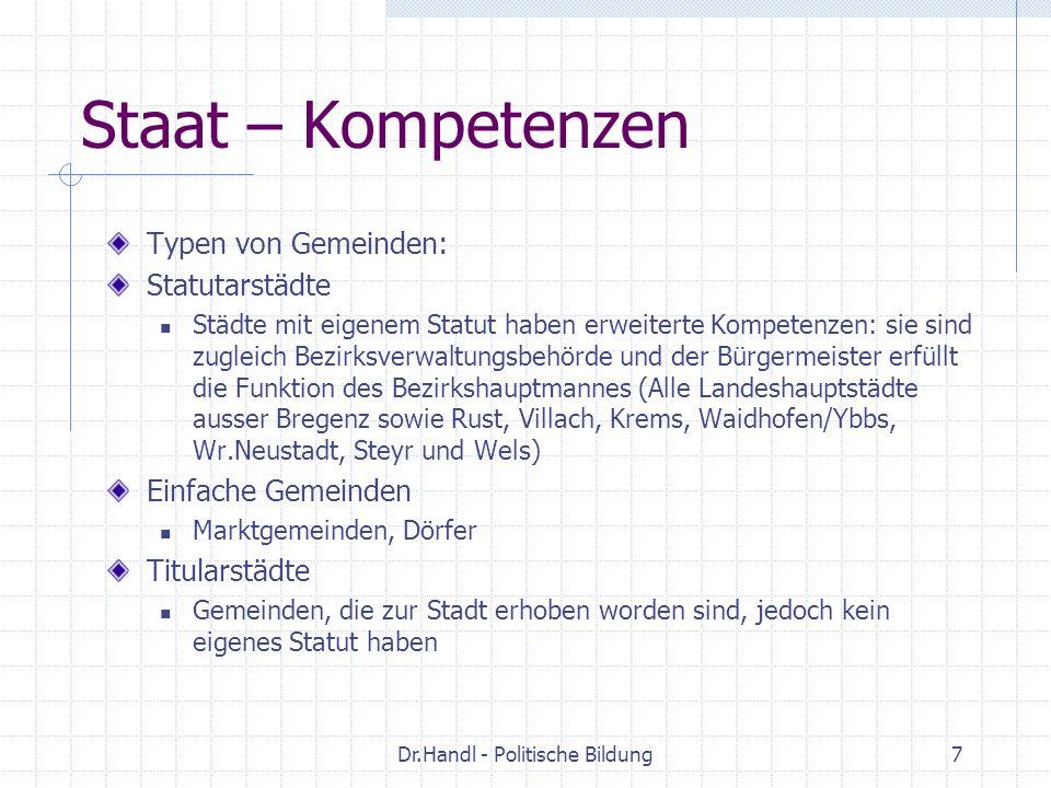 Dr.Handl - Politische Bildung7 Staat – Kompetenzen Typen von Gemeinden: Statutarstädte Städte mit eigenem Statut haben erweiterte Kompetenzen: sie sin