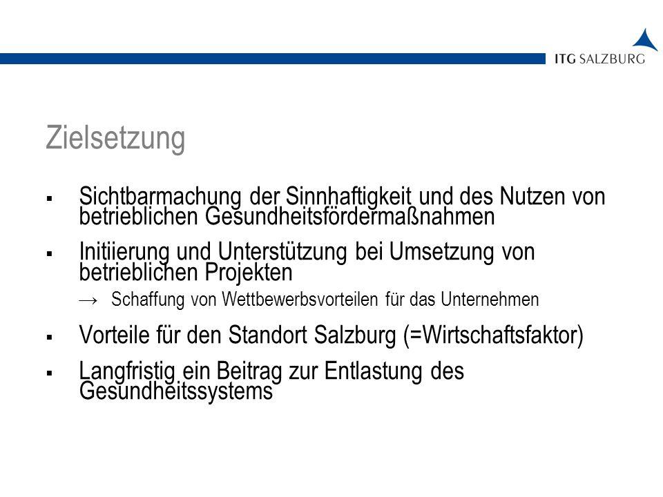 Monetäre Förderung von Konzepten und Projekten Bewusstseinsbildende Maßnahmen Gesundheits-Check Workshop-/Veranstaltungsreihe Wettbewerb und Preise Medienarbeit Projektberatung 05.01.2014   Seite 4 Inhalte der Initiative BGF in Salzburg
