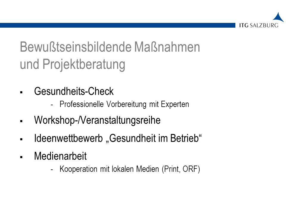 Gesundheits-Check -Professionelle Vorbereitung mit Experten Workshop-/Veranstaltungsreihe Ideenwettbewerb Gesundheit im Betrieb Medienarbeit -Kooperation mit lokalen Medien (Print, ORF) Bewußtseinsbildende Maßnahmen und Projektberatung
