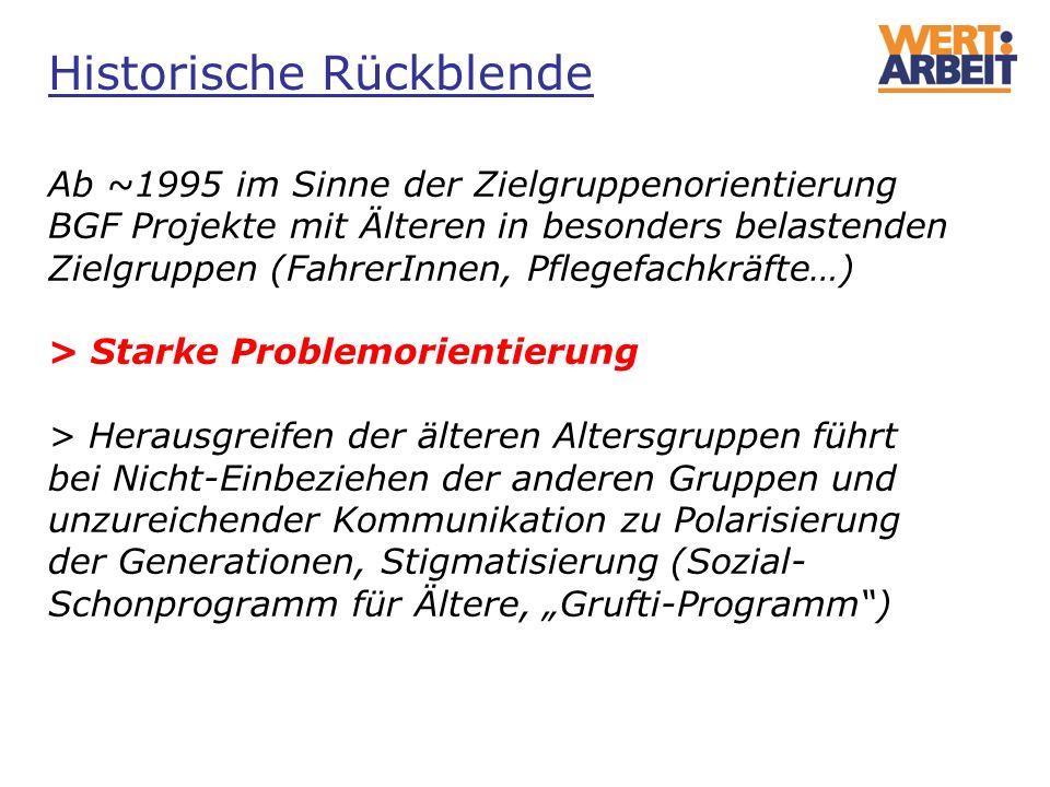 Ab ~1995 im Sinne der Zielgruppenorientierung BGF Projekte mit Älteren in besonders belastenden Zielgruppen (FahrerInnen, Pflegefachkräfte…) > Starke