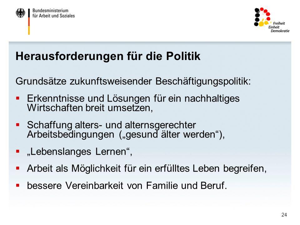 24 Herausforderungen für die Politik Grundsätze zukunftsweisender Beschäftigungspolitik: Erkenntnisse und Lösungen für ein nachhaltiges Wirtschaften b