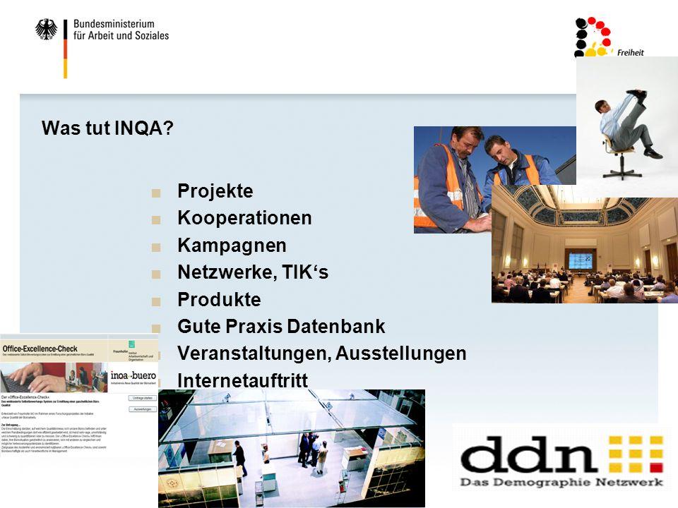 34 Was tut INQA? Projekte Kooperationen Kampagnen Netzwerke, TIKs Produkte Gute Praxis Datenbank Veranstaltungen, Ausstellungen Internetauftritt Newsl