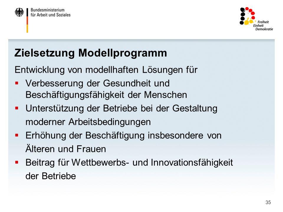 35 Zielsetzung Modellprogramm Entwicklung von modellhaften Lösungen für Verbesserung der Gesundheit und Beschäftigungsfähigkeit der Menschen Unterstützung der Betriebe bei der Gestaltung moderner Arbeitsbedingungen Erhöhung der Beschäftigung insbesondere von Älteren und Frauen Beitrag für Wettbewerbs- und Innovationsfähigkeit der Betriebe