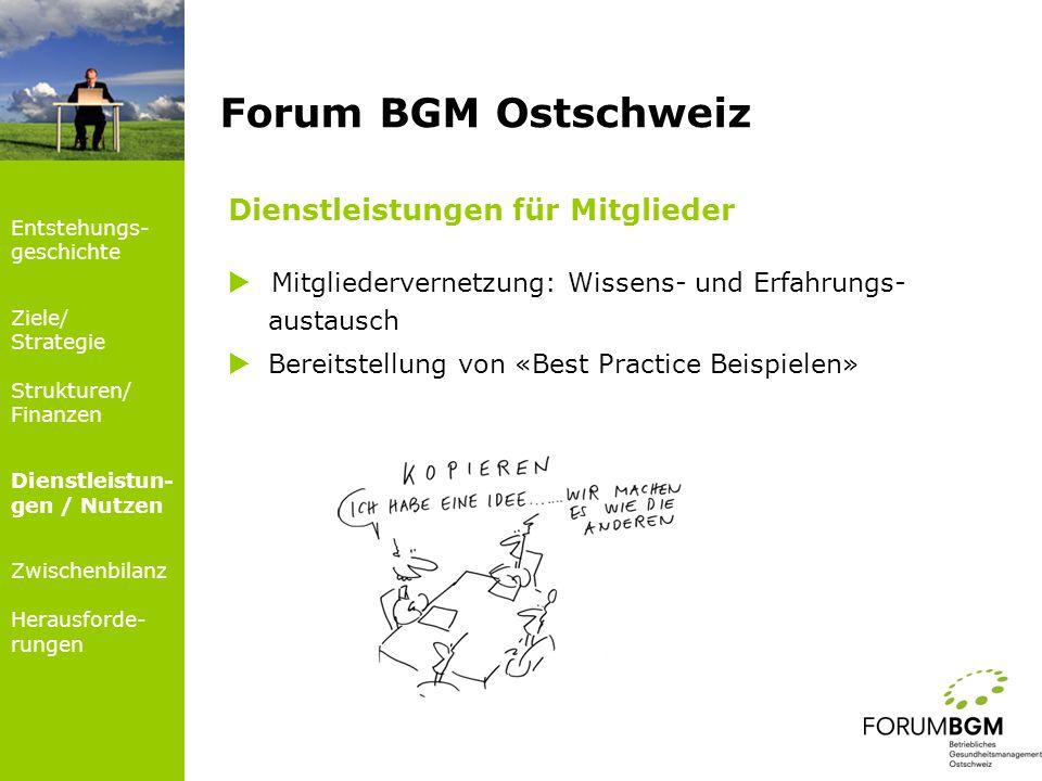 Dienstleistungen für Mitglieder Mitgliedervernetzung: Wissens- und Erfahrungs- austausch Bereitstellung von «Best Practice Beispielen» Forum BGM Ostsc