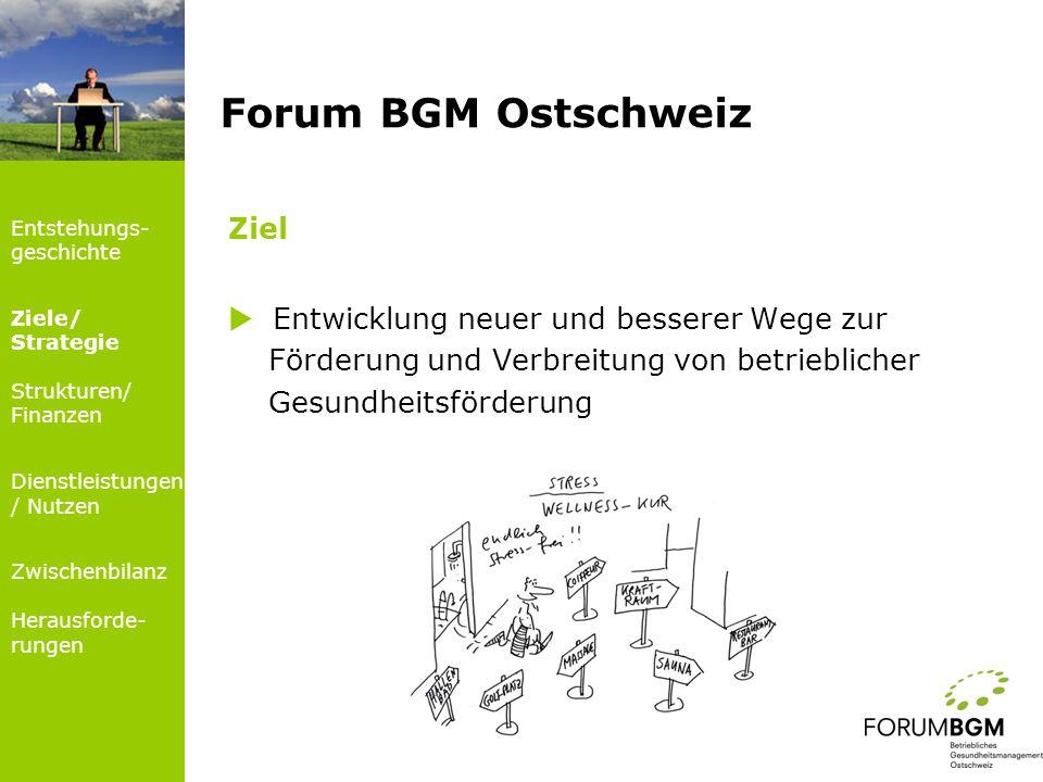 Ziel Entwicklung neuer und besserer Wege zur Förderung und Verbreitung von betrieblicher Gesundheitsförderung Forum BGM Ostschweiz Entstehungs- geschi