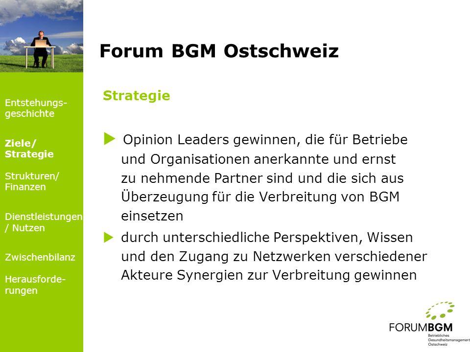 Strategie durch die unterschiedlichen Blickwinkel verschiedener Akteure die Anschlussfähigkeit der Dienstleistungen des Forums BGM Ostschweiz an die tatsächlichen Bedürfnisse und Problemstellungen der Unternehmen bzw.