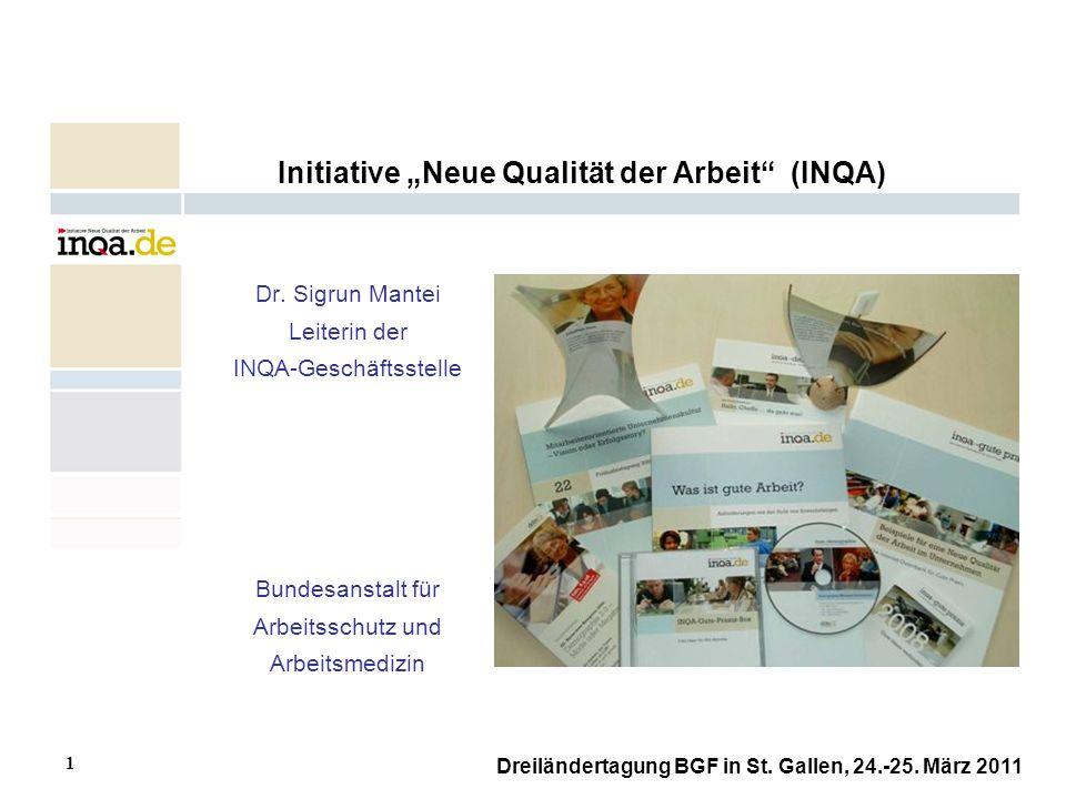 1 17.08.2006 Dr. Sigrun Mantei Leiterin der INQA-Geschäftsstelle Bundesanstalt für Arbeitsschutz und Arbeitsmedizin Initiative Neue Qualität der Arbei