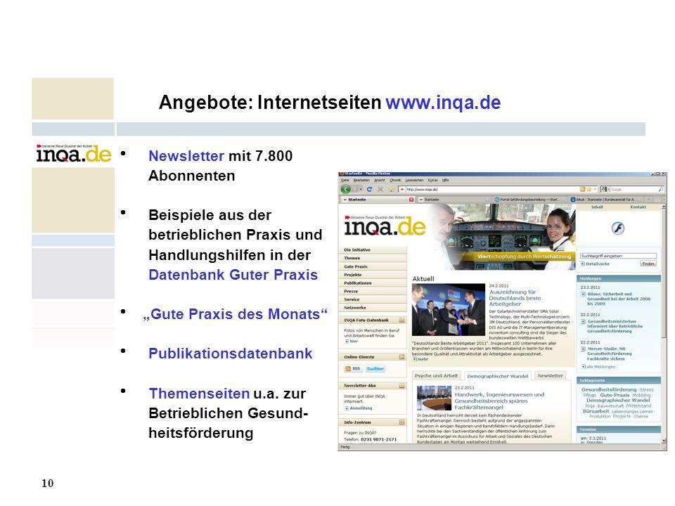 10 17.08.2006 Angebote: Internetseiten www.inqa.de Newsletter mit 7.800 Abonnenten Beispiele aus der betrieblichen Praxis und Handlungshilfen in der D