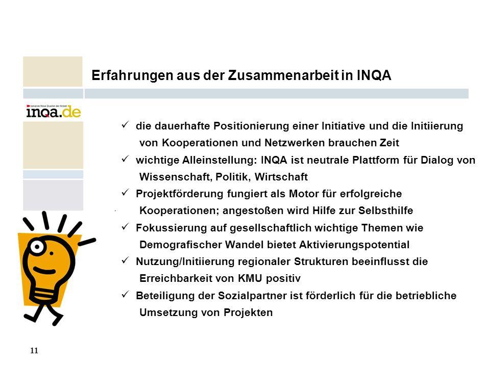 11 17.08.2006 Erfahrungen aus der Zusammenarbeit in INQA die dauerhafte Positionierung einer Initiative und die Initiierung von Kooperationen und Netz