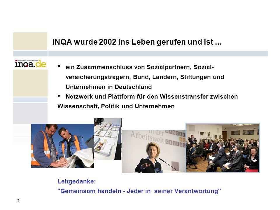 2 17.08.2006 INQA wurde 2002 ins Leben gerufen und ist... ein Zusammenschluss von Sozialpartnern, Sozial- versicherungsträgern, Bund, Ländern, Stiftun
