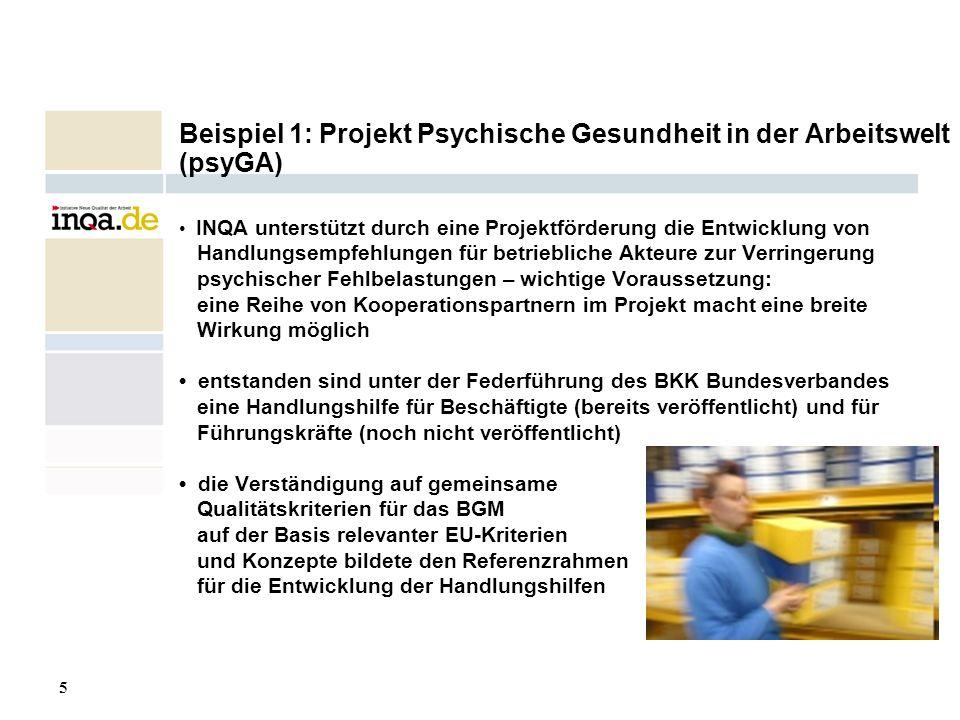 5 17.08.2006 Beispiel 1: Projekt Psychische Gesundheit in der Arbeitswelt (psyGA) INQA unterstützt durch eine Projektförderung die Entwicklung von Han