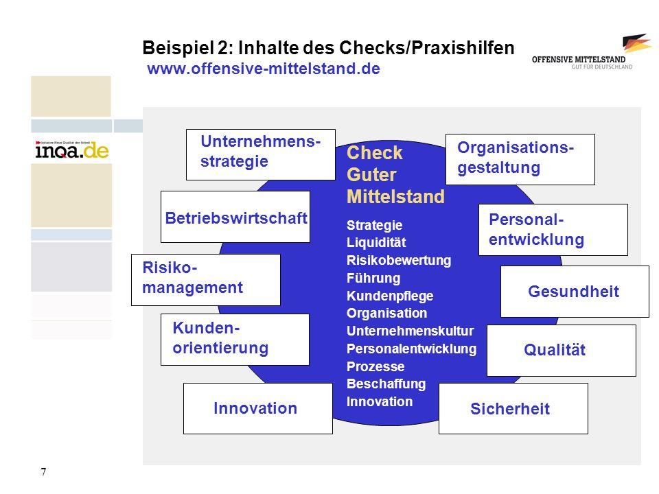 8 17.08.2006 Beispiel 3: Kompetenznetzwerk KMU Fakten: größtes Netzwerk mittelständischer Unternehmen in Deutschland, die sich mit BGM/BGF beschäftigen derzeit mehr als 70 Unternehmen mit ca.