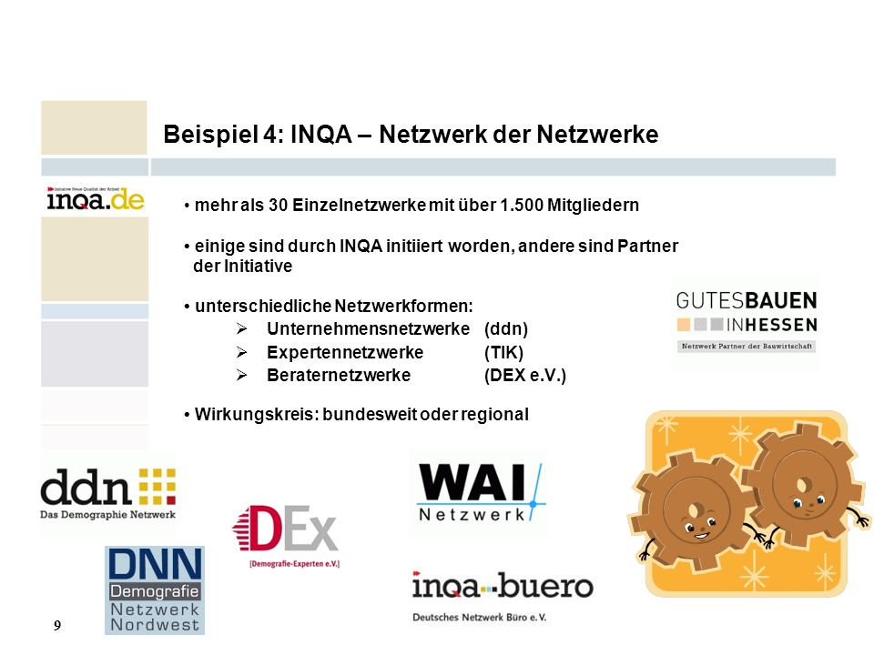 9 17.08.2006 Beispiel 4: INQA – Netzwerk der Netzwerke mehr als 30 Einzelnetzwerke mit über 1.500 Mitgliedern einige sind durch INQA initiiert worden,